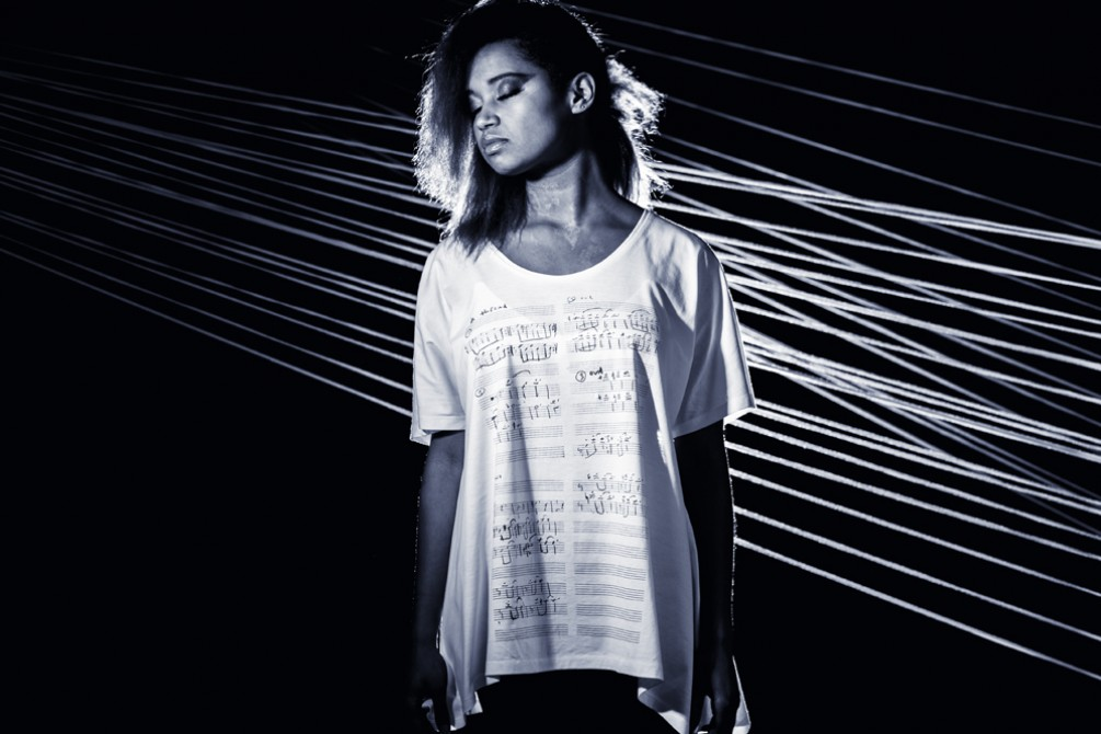 model wearing a t-shirt teeshare made in collaboration with Julia Kent