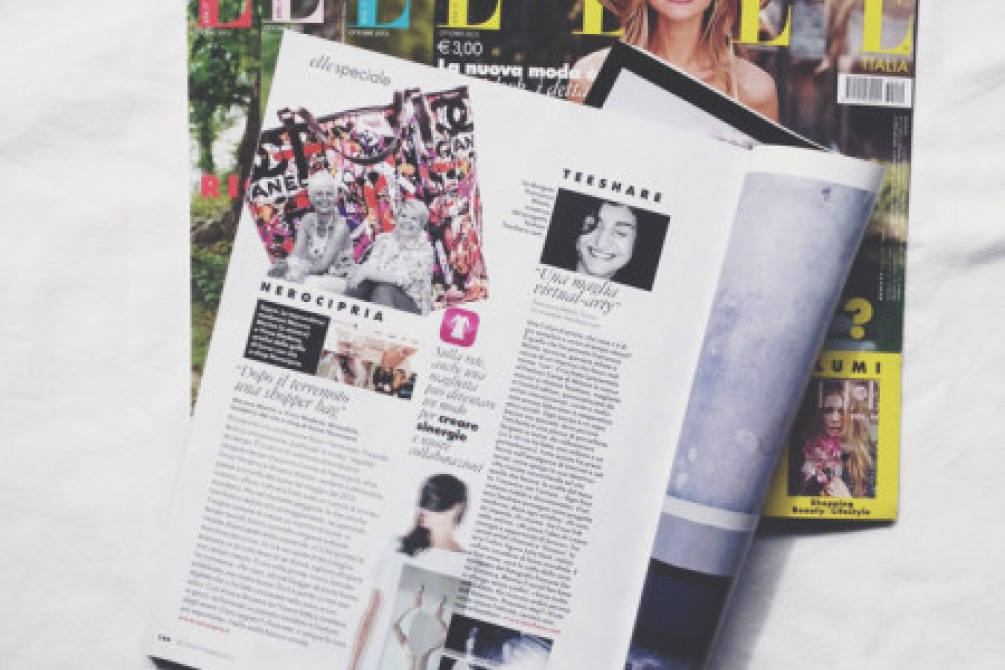 Elle Italy magazine write about teeshare project