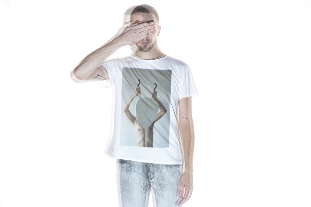 model wearing a tee  made in collaboration with Denis Darzacq