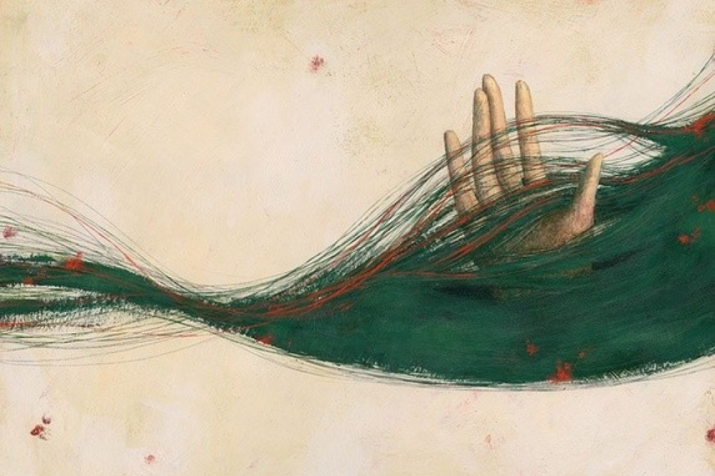 artwork by the artist Ofra Amit hand between hair