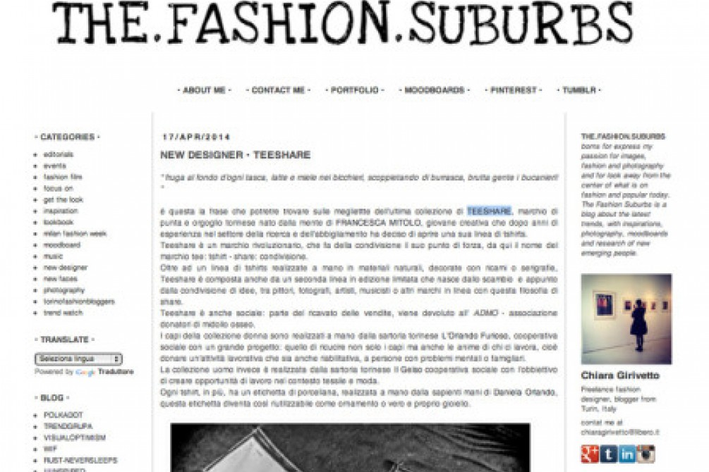 The fashion suburbs di Chiara Girivetto scrive di teeshare