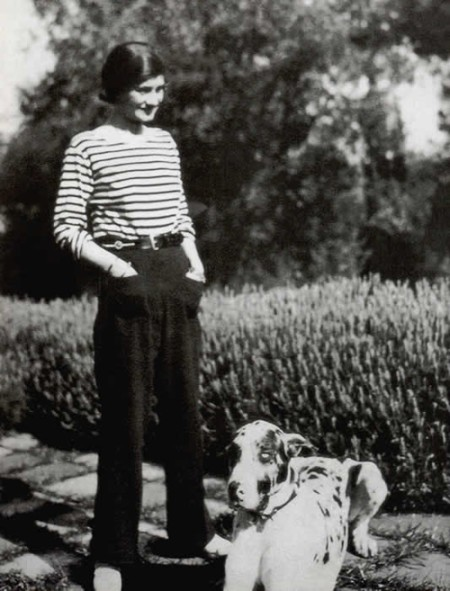 Coco Chanel wearing a striped tee